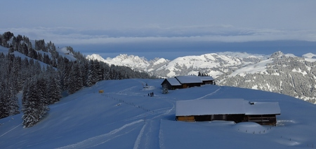 Winter landscape on Mt Wispile, Gstaad. Play of light and shadow.