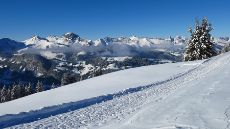 gstaad: Snow landscape in Gstaad, Swiss Alps. Winter hiking path on Mt Wispile and mountains.