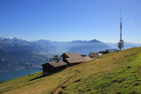 the bernese oberland: Summit of Mt Niederhorn, Bernese Oberland. Travel destination in the Swiss Alps.