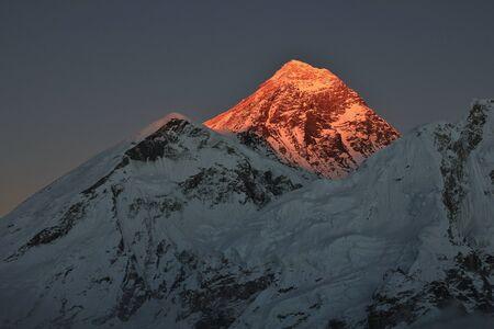 mount everest: Last sunlight of the day illuminate mount Everest. Stock Photo