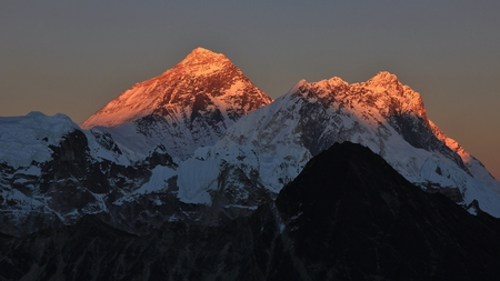 mount everest: Mount Everest and Nuptse at sunset. View from Gokyo Ri. Stock Photo