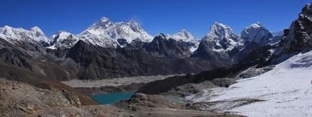 View from Renjo La mountain pass. Gokyo lake and Ngozumpa glacier. Mount Everest, Lhotse, Cholatse and other high mountains of the Himalayas. Stock Photo