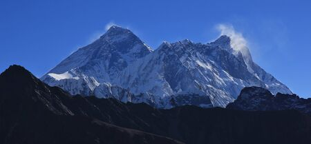 mount everest: Mount Everest and Lhotse, view from Renjo La mountain pass. Stock Photo