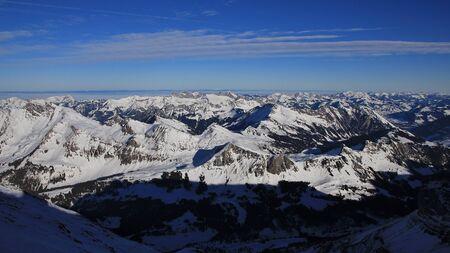 View from the Glacier de Diablerets ski area, Swiss Alps.