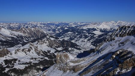 Winter landscape in the Bernese Oberland. View from Glacier des Diablerets. Stock Photo
