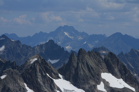 Rugged mountains in the Swiss Alps.Grassengrat and mount Oberalpstock, view from mount Titlis.