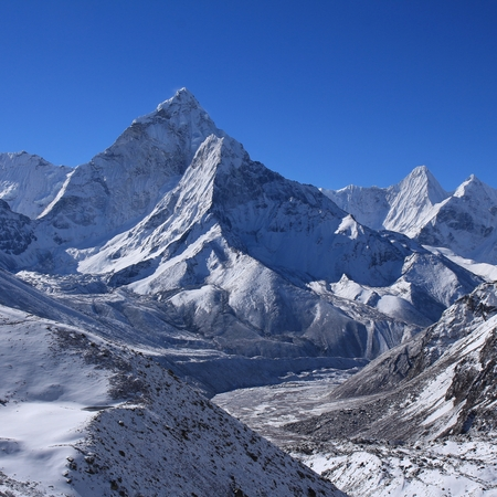 Majestic mount Ama Dablam on a morning after new snowfall. Mountain in the Mount Everest National Park, Nepal. Popular for climbing.