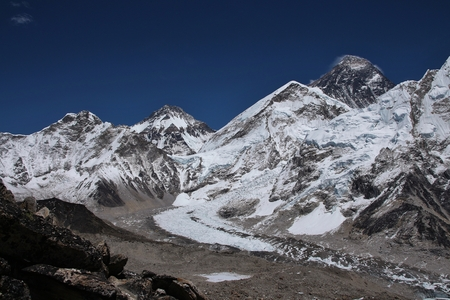 Mount Everest and Khumbu glacier. Distant view of the Everest base camp. View from Kala Patthar. Stock Photo