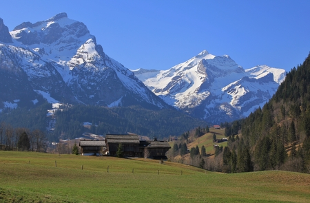 Arrival of spring in Gsteig bei Gstaad, Swiss Alps. Snow capped mountains Oldenhorn and Schlauchhorn. Green meadow.