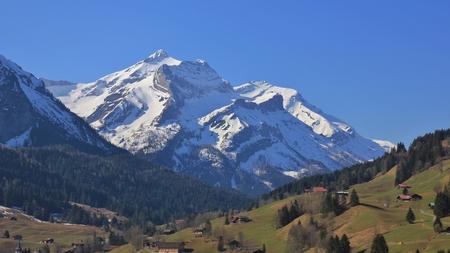 Mount Oldenhorn in spring. Mountain in Gsteig bei Gstaad, Swiss Alps.