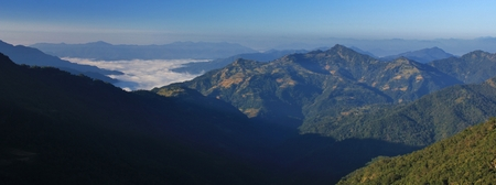 View from Baglungpani towards Pokhara, Nepal. Hills on a autumn morning.