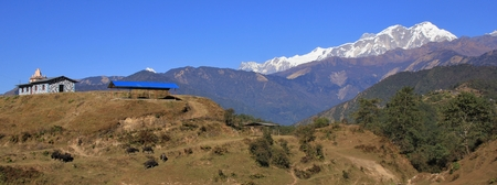 Snow capped Annapurna range. View from Ghale Gaun, Nepal.