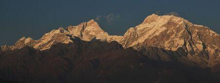 Mountain peaks of the Manaslu range seen from Ghale Gaun, Nepal. Stock Photo