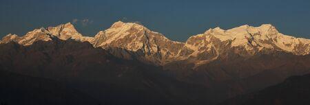 Manaslu range just before sunset. View from Ghale Gaun, Nepal.