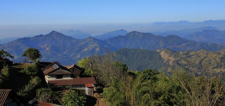 View from Baglungpani, Nepal. Hills, mountain ranges and valleys near Pokhara. Stock Photo