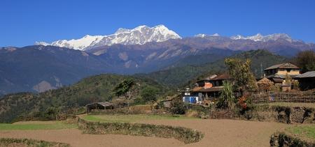Fields and snow capped Annapurna range. Scene on the way to Ghale Gaun, Nepal.