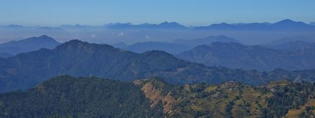 Maling, village on a hill top. Hills and valleys near Pokhara, Nepal.