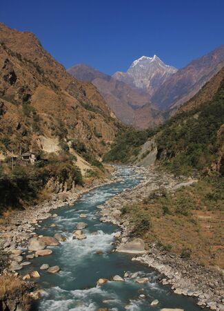 Kali Gandaki river and mount Nilgiri. Landscape in the Annapurna Conservation Area, Nepal.
