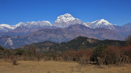 Dhaulagiri range on a autumn day. View from a place near Poon Hill.