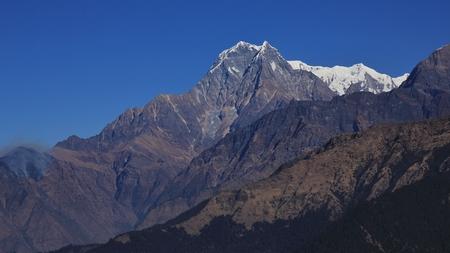 Nilgiri, high mountain in Nepal. View from Mohare Danda.