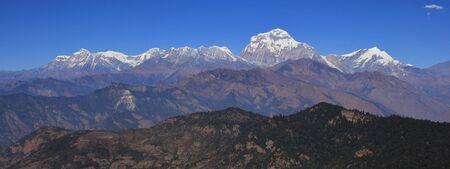 Dhaulagiri, Tukuche Peak and other mountains of the Dhaulagiri range, Nepal. Seventh highest mountain of the world.