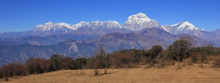 Dhaulagiri range seen from a place near Poon Hill, Nepal. Seventh highest mountain of the world. Stock Photo