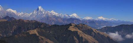Autumn day in the Himalayas. Annapurna range seen from Mohare Danda, Nepal.