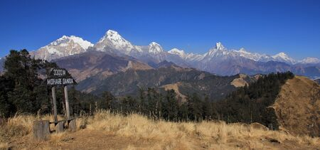 Annapurna range seen from Mohare Danda. Travel destination and view point in Nepal. Stock Photo