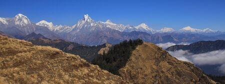 View from Mohare Danda. Mountains of the Annapurna range, Nepal. Hiun Chuli, Machapuchare, Lamjung Himal and Manaslu range.