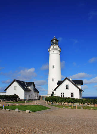 Lighthouse in Hirtshals, west coast of Denmark. Stock Photo