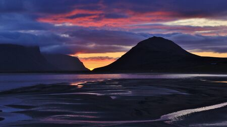 Summer sunset in the westfjords of Iceland.