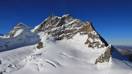 Mount Jungfrau, view from Jungfraujoch, Switzerland. Stock Photo