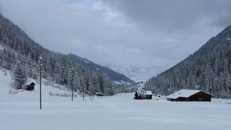 Onset of winter in Feutersoey, village near Gstaad