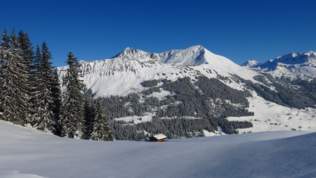 View from mount Hohe Wispile. Gifer and Lauenenhorn in winter.