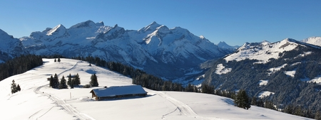 Snow covered mountains Schlauchhorn, Oldenhorn and Vorder Walig, Swiss Alps.