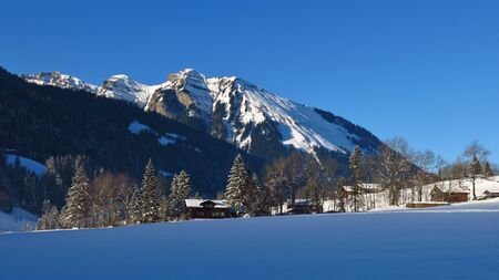 Snow covered mountain Primelod. Stock Photo