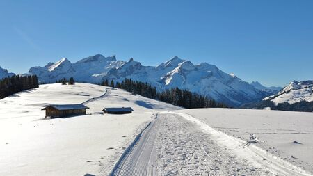 Stunning view from mount Hohe Wispile. Landscape near Gstaad.