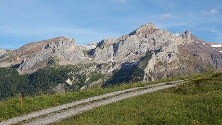 Mount Schlauchorn. Summer scene in Switzerland.