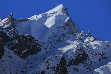 Mountain peak covered by glacier and snow. Scene in the Langtang National Park, Nepal. Stock Photo