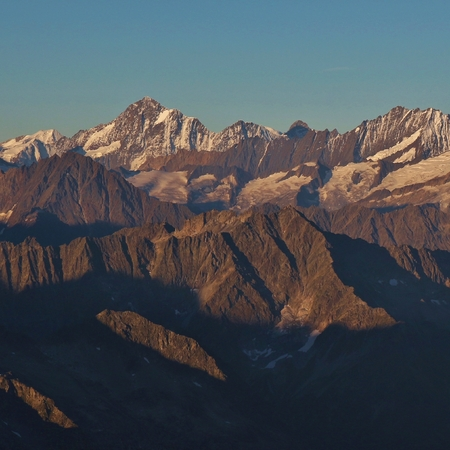 Mount Bietschhorn and other mountain ranges seen from mount Titlis.