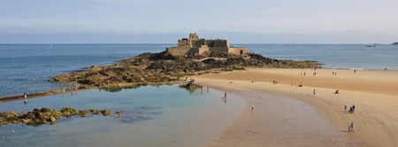Fort National, old fort in St Malo, Brittany. French coast.