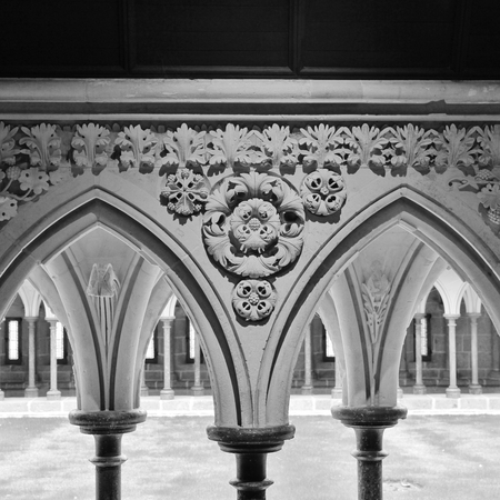 Sculptured arcade. Cloister of the Merveille. Mont St Michel, Normandy, France. Stock Photo