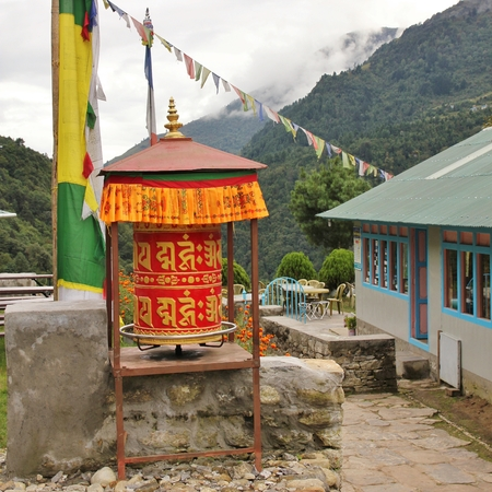 Prayer wheel in the Everest National Park, Nepal. Stock Photo