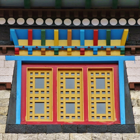 Colorful window of a monastry in the Mount Everest National Park, Nepal.