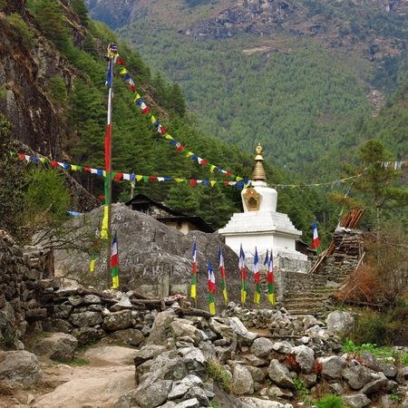 Stupa and prayer flags in the Everest National Park, Nepal.