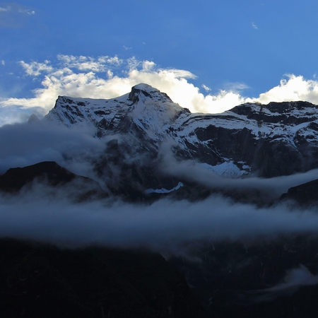 Sunset view from Syangboche, Nepal. 写真素材