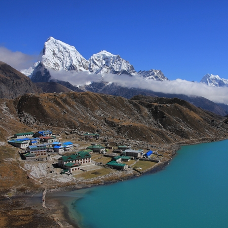 Beautiful landscape in the Everest National Park, Nepal. Gokyo valley. Stock Photo