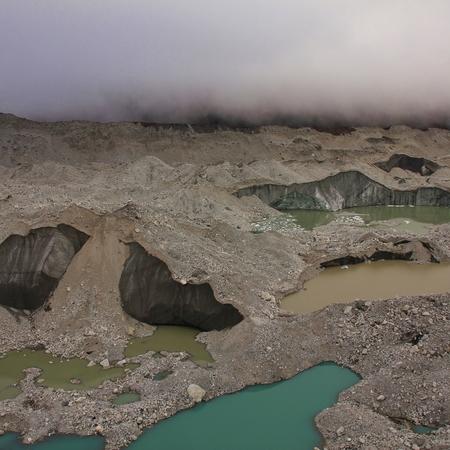 Melting glacier in the Everest National Park, Nepal. Scene in Gokyo.