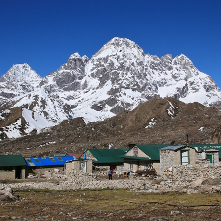 Small village Thagnak and Mt Phari Lapcha Stock Photo