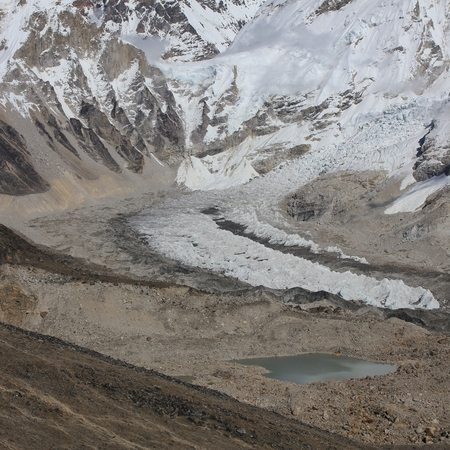 Starting point for Everest expeditions. Detail of the Khumbu Glacier. Stock Photo